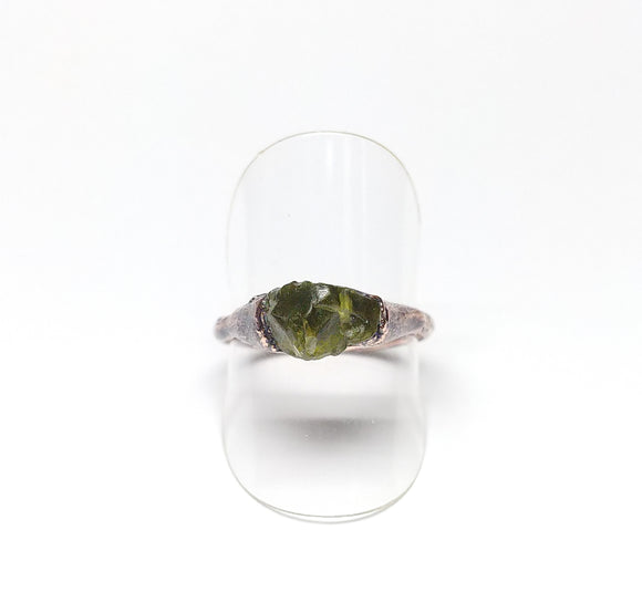 Raw Peridot Ring Size 8-1/2