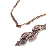 Natural Seed Pod Limb in Copper w/ Herkimer Diamonds Pendant