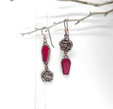 Ruby Coffin Dangle Earrings