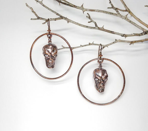 Skull Dangle w/ Swarovski Crystal Eyes Hoop Earrings