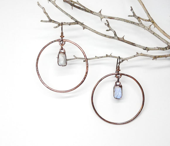 Rainbow Moonstone Dangle Hoop Earrings