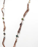 Bloodstone Pendant w/ Natural Copper Twigs & Watermelon Tourmaline Beaded Chain