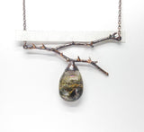 Graveyard Plume Agate w/ Oregon Wild Rose Thorns Pendant