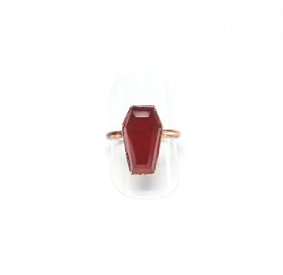 Red Quartz Coffin Ring Size 8