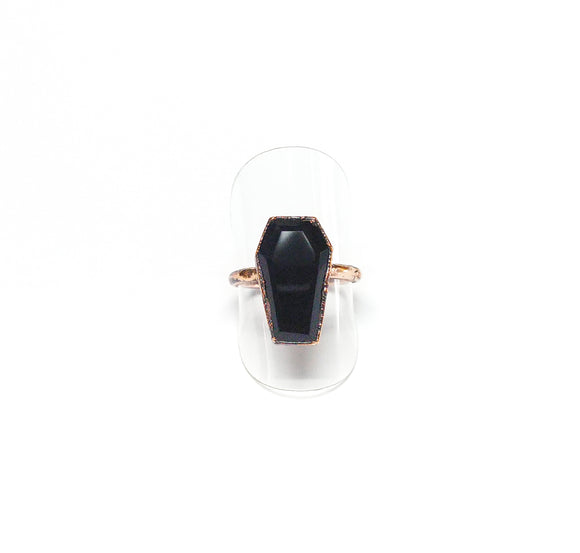 Black Onyx Coffin Ring Size 7