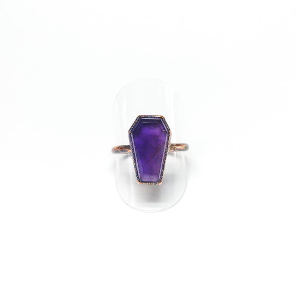Amethyst Coffin Ring Size 9-1/4