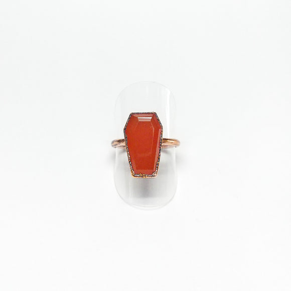 Carnelian Coffin Ring Size 7-1/2
