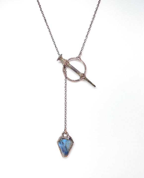 Labradorite Coffin with Coffin Nail Lariat