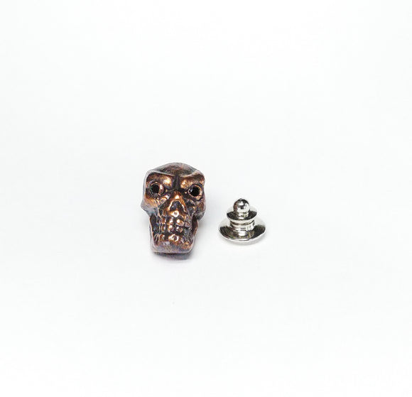 Copper Skull Tie Tac w/ Crystal Eyes