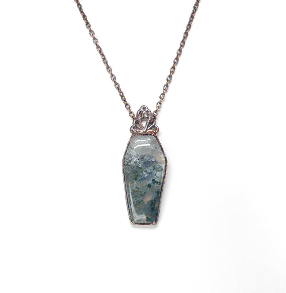 Moss agate Coffin Pendant w/ Beaded Chain