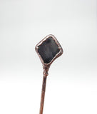 Tumbled Silver Strip Obsidian Pipe / Hair Pick