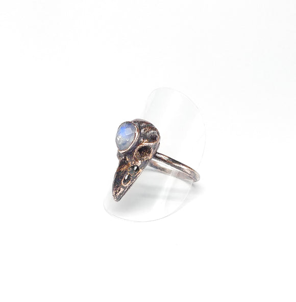 Copper Raven Skull w/ Moonstone Ring Size 9-3/4