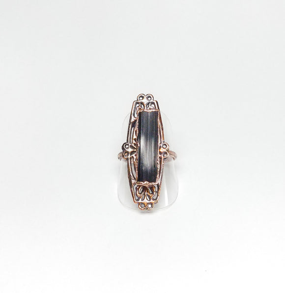 Filigree w/ Raw Black Tourmaline Ring Size 7-1/2