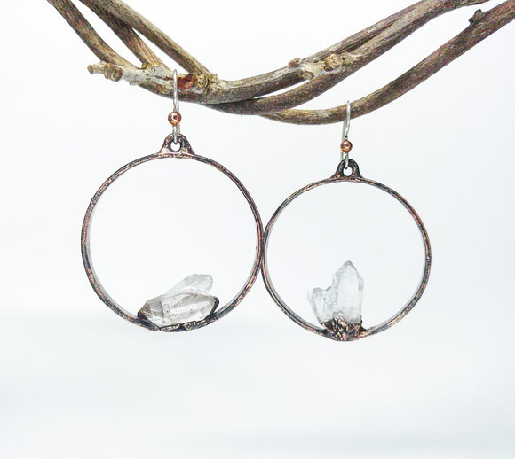 Crystal Point Hoop Earrings