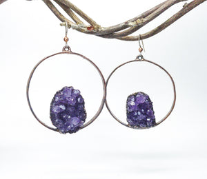 Amethyst Cluster Hoop Earrings
