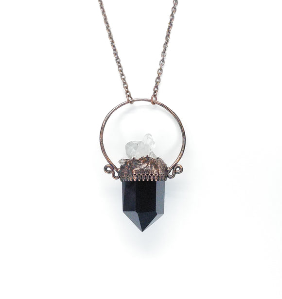 Obsidian Point Pendant w/ Crystal Cluster