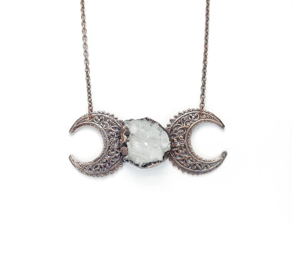 Filigree Moon Phase Pendant w/ Crystal Cluster Moon