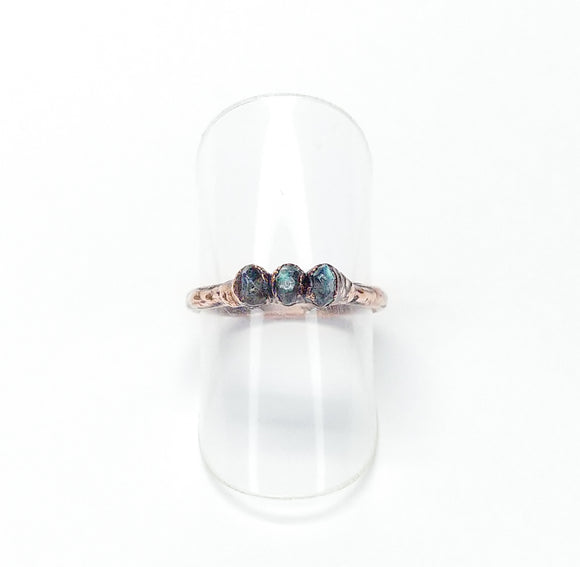 Delicate Faceted Labradorite Ring Size 5-1/4