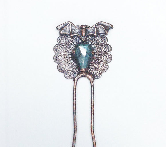 Bat & Labradorite Coffin Filigree Double Prong Small Hairstick