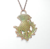 Verdigris Copper Thistle Pendant