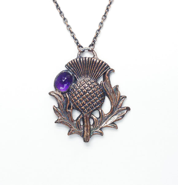 Thistle Copper Pendant w/ Faceted Amethyst