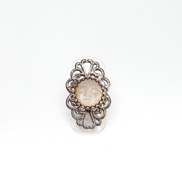 Peach Moonstone Face Filigree Ring Size 5-3/4
