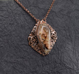 Ruby Ridge Plume Agate Coffin Elegant Filigree Necklace