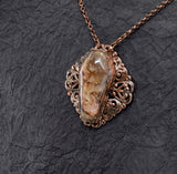 Ruby Ridge Plume Agate Coffin Elegant Filigree Pendant