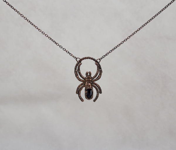 Onyx Spider Pendant black onyz is 6 x 10mm