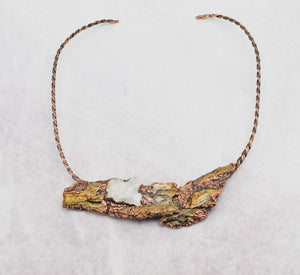 Tree Bark with Crystal Cluster Copper Neck Wire Statement Piece