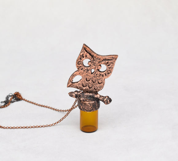 Owl on Branch Jar Bottle Pendant