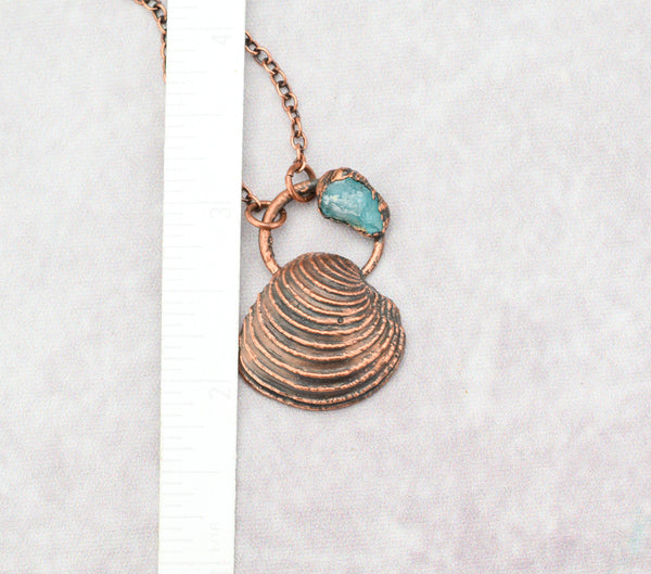 Barcelona Sea Shell with Raw Apatite Pendant, pendant with bail 1 x 1 3/8