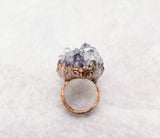 Amethsyt Cluster Cocktail Ring Size 8-1/4, profile is 3/4 inch high