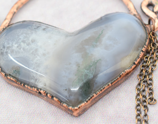 Moss Agate Heart Pendant cabbed by us, so much depth