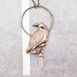 Raven with Rose Quartz point pendant with bail 1-3/4 x 3-5/8 inch