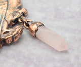 Raven with 20mm Rose Quartz Point Pendant