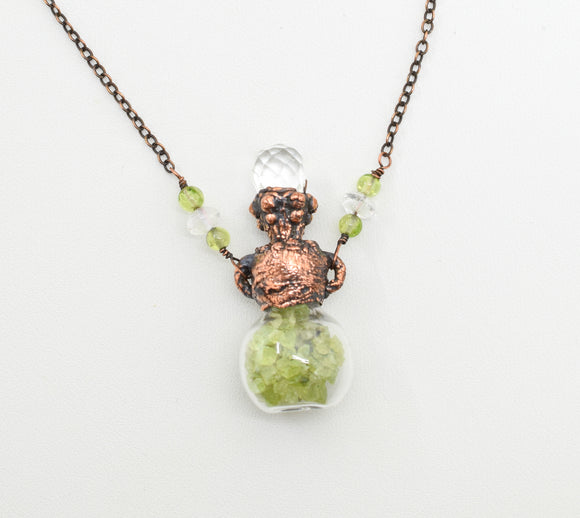 Raw Peridot Bottle with Faceted Crystal Top and Beaded Chain