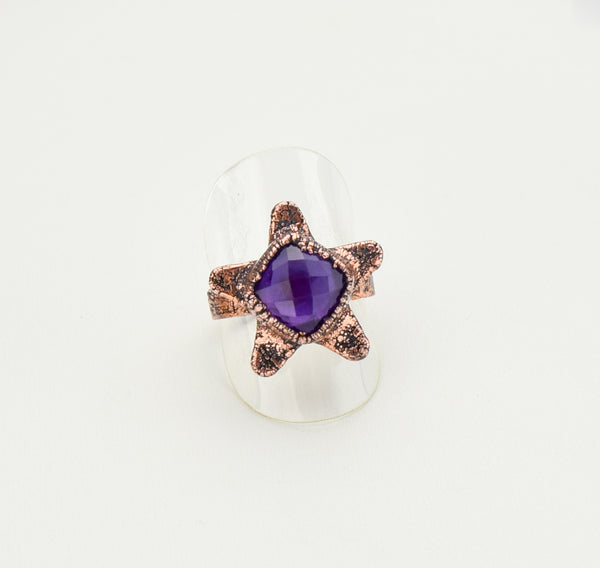 Star Ring with Faceted Amethyst Size 8-1/2 - The Wacky Wanderers