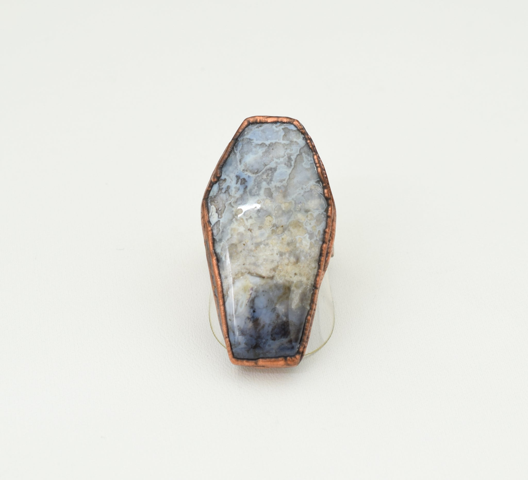 Graveyard Plume Agate Coffin Ring Size 6-1/2 - 7