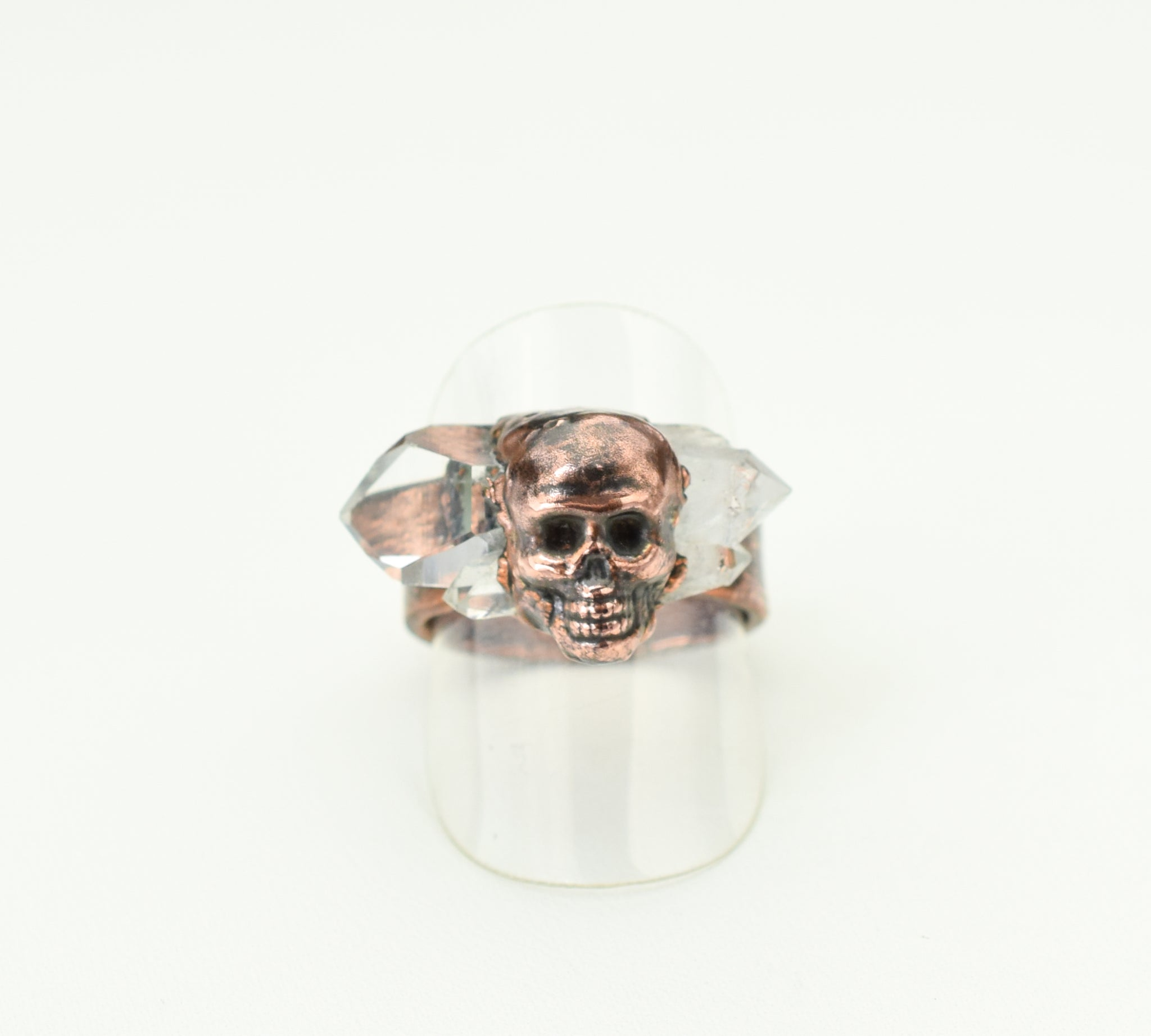 Crystal Point Ring with Skull Size 8 - 8-1/2