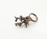 Lichen Statement Ring with Moonstone Size 7-1/4 - The Wacky Wanderers