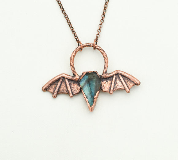Bat Wings with Labradorite Coffin Pendant - The Wacky Wanderers