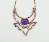 Crescent Moon and Bat with Amethyst Pendant -The Wacky Wanderers