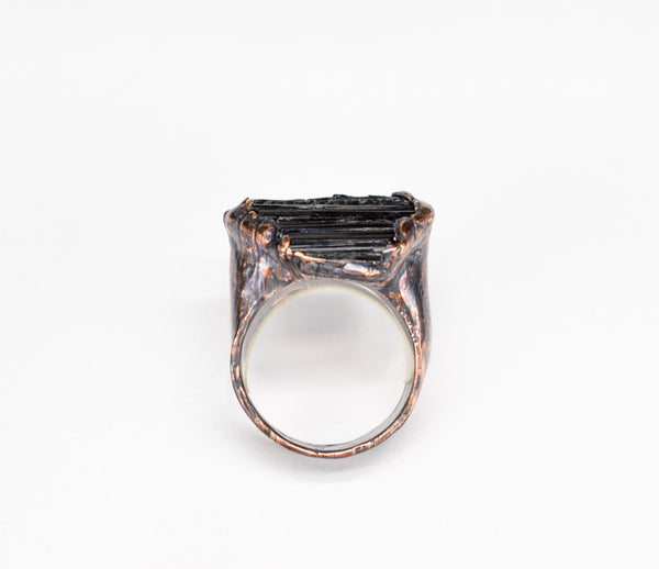 Black Tourmaline Ring profile is 5/16 inch high