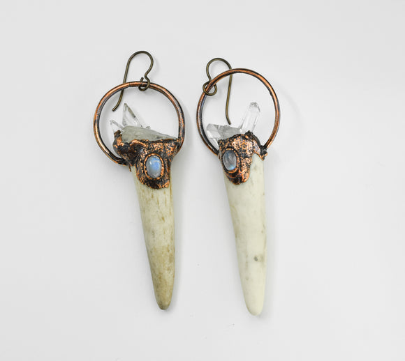 Antler Earrings with Rainbow Moonstone and Crystal Clusters