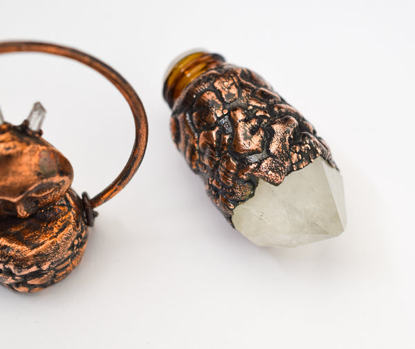 Moon with Crystal Crown and Crystal Point Bottle Pendant