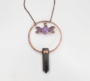 Amethyst Moon Phase Goddess w/ Black Tourmaline Point Pendant - The Wacky Wanderers