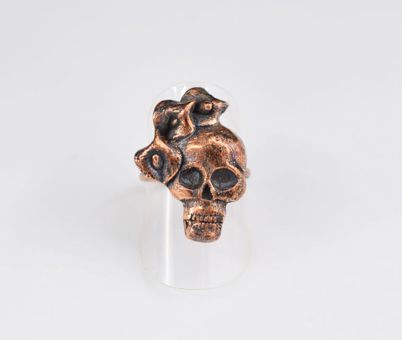 Skull with Calla Lilies Ring Size 6 1/4