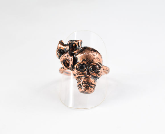 Skull with Black Spinel and Calla Lilies Ring Size 9-1/2