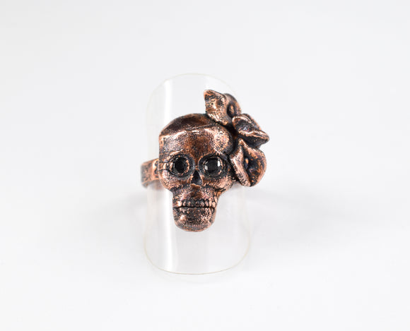 Skull Ring with Black Spinel Eyes and Calla Lilies Size 6 1/2